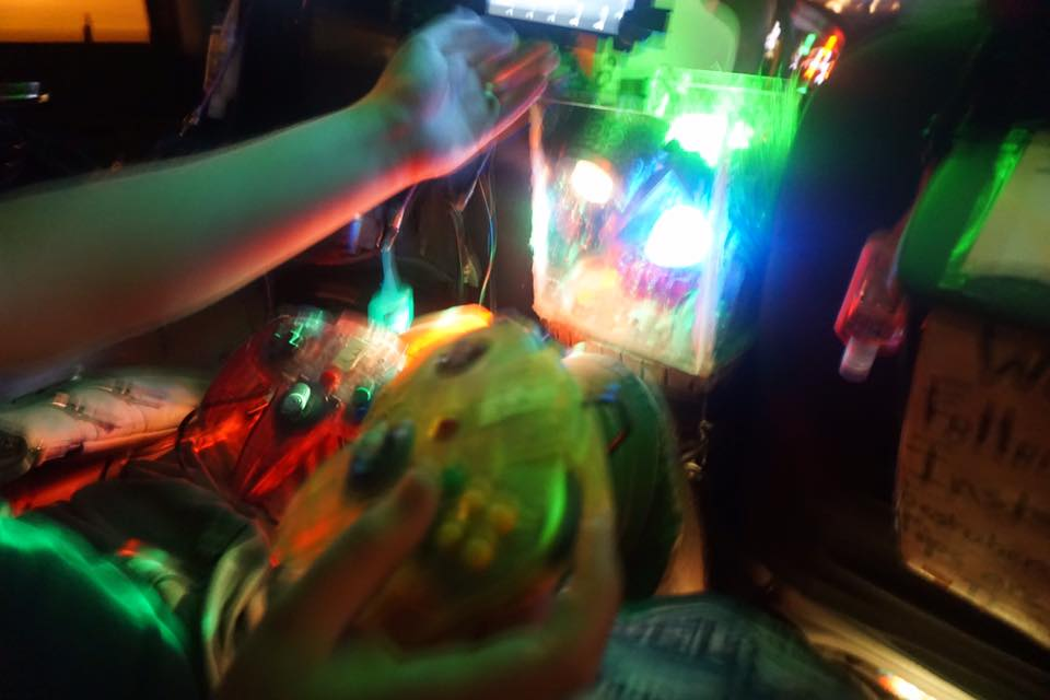 Though it's a blurry picture, I believe the blurriness may actually adequately depict what it was like to be in the Party Uber.