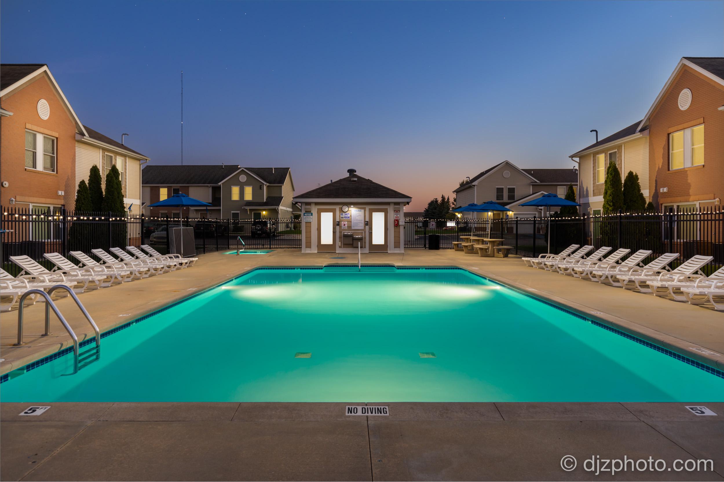 Apartment Complex Twilight Pool