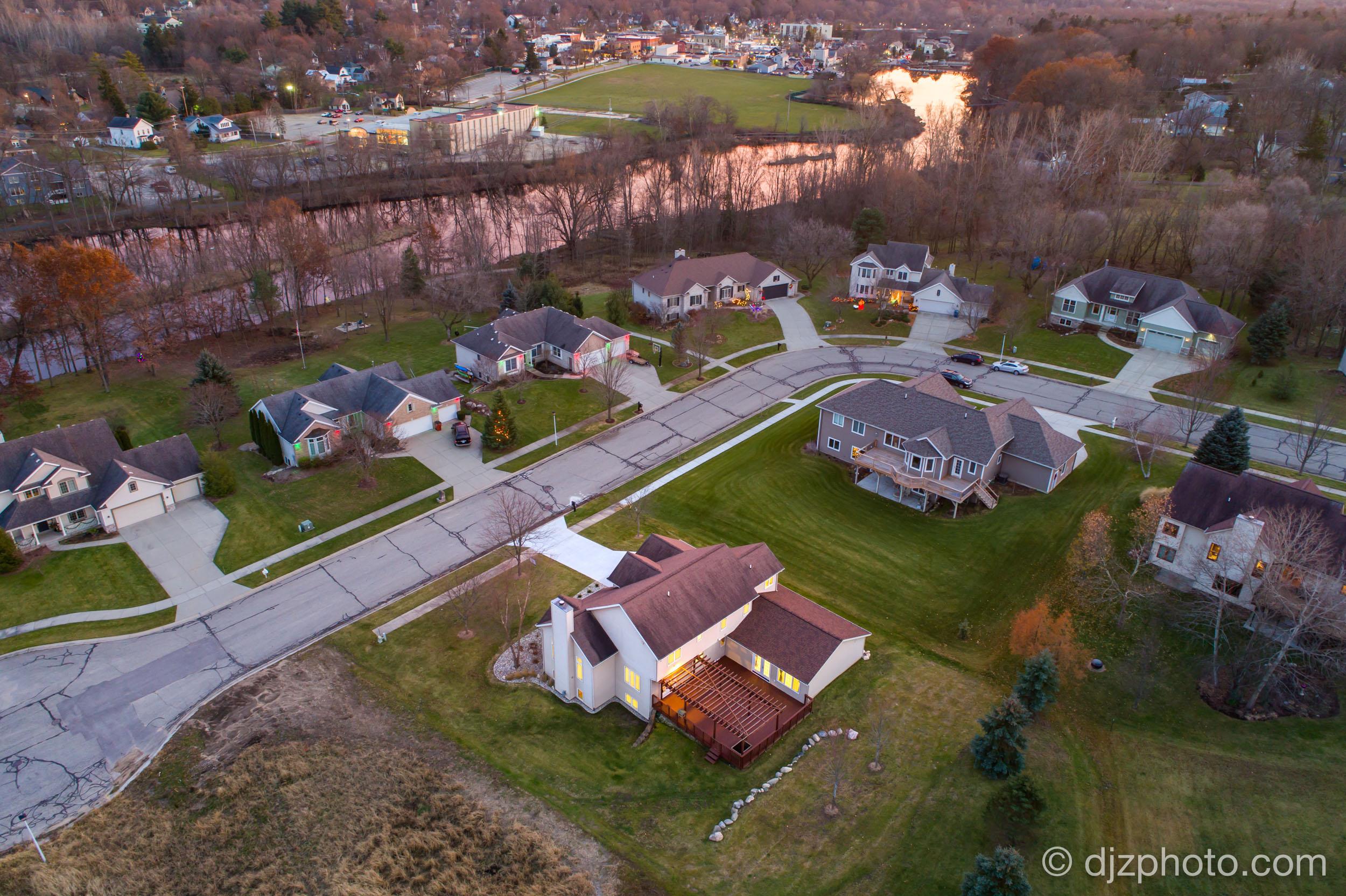Aerial Drone Twilight Photo in Rockford, MI