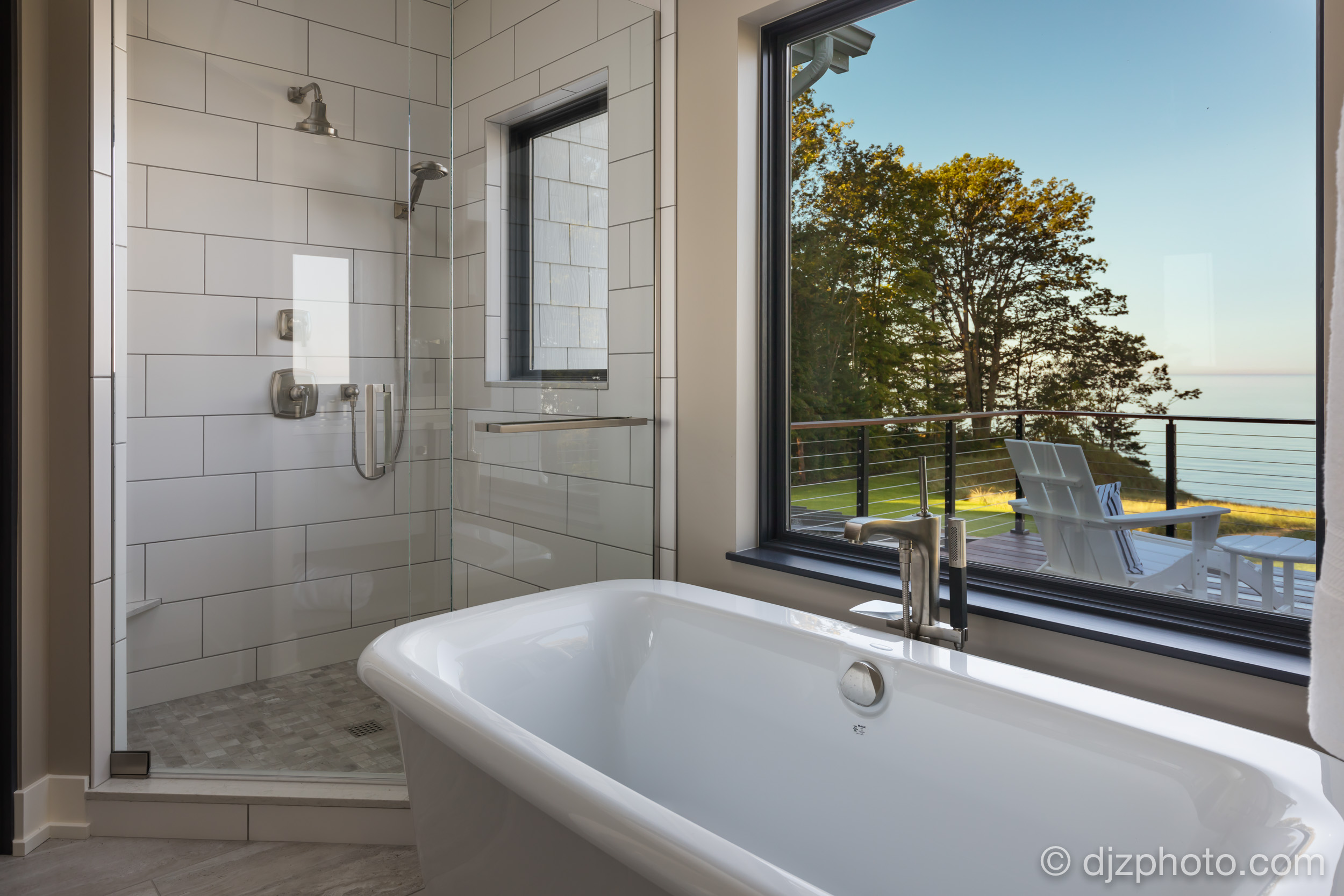 Master Bath with Lake Michigan Views