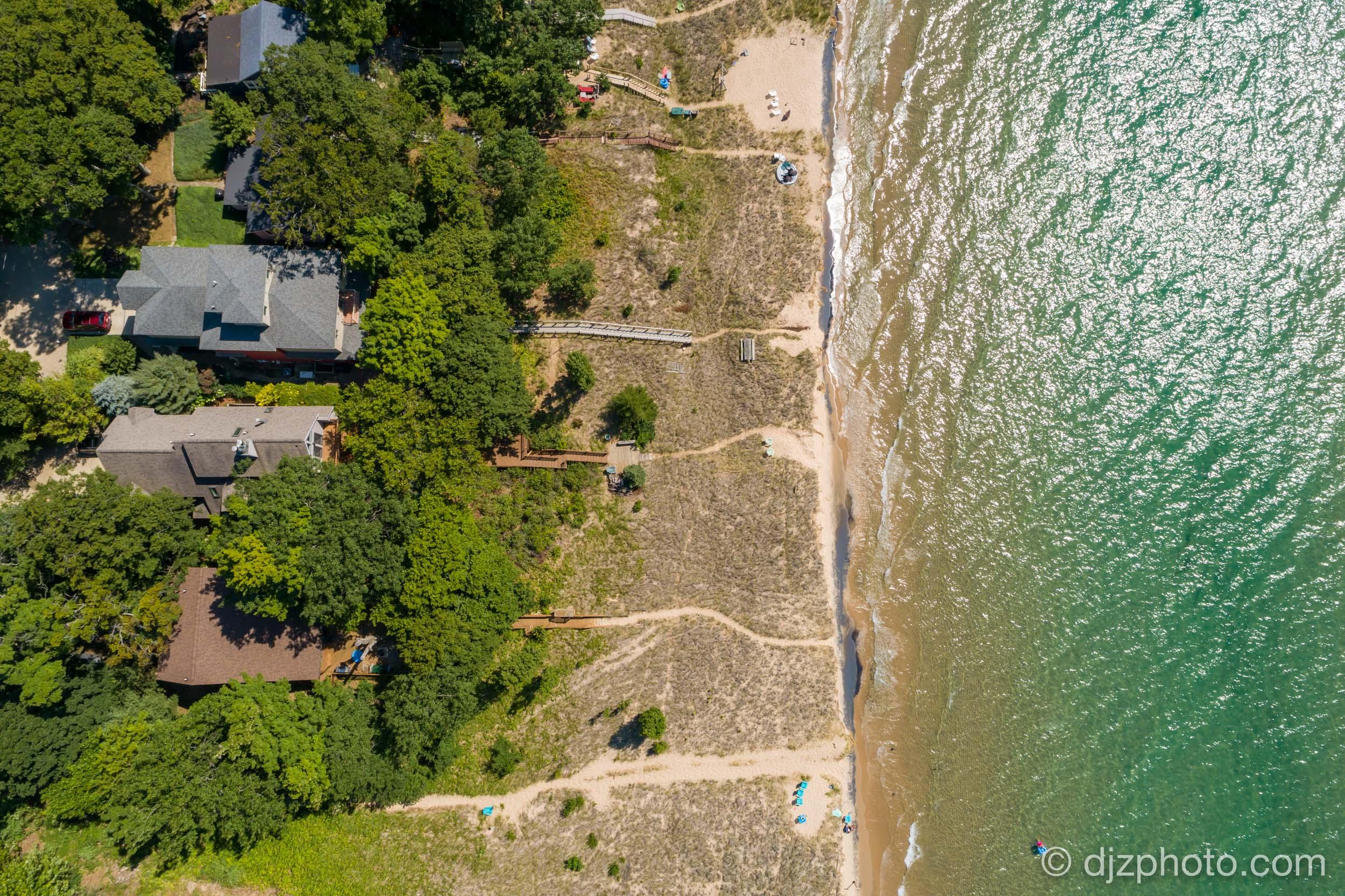 Aerial on Lake Michigan