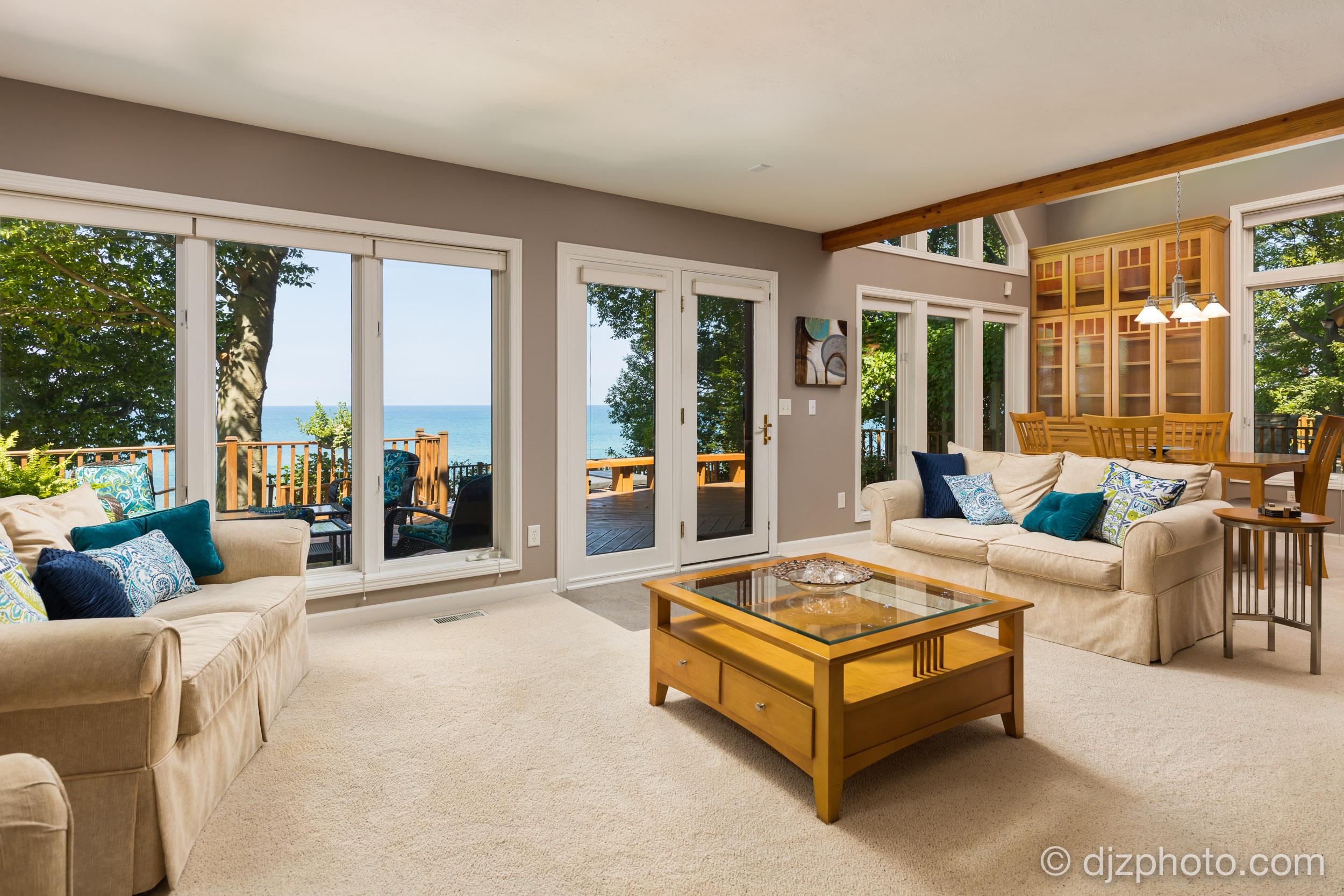 Living Room with Lake Michigan Views