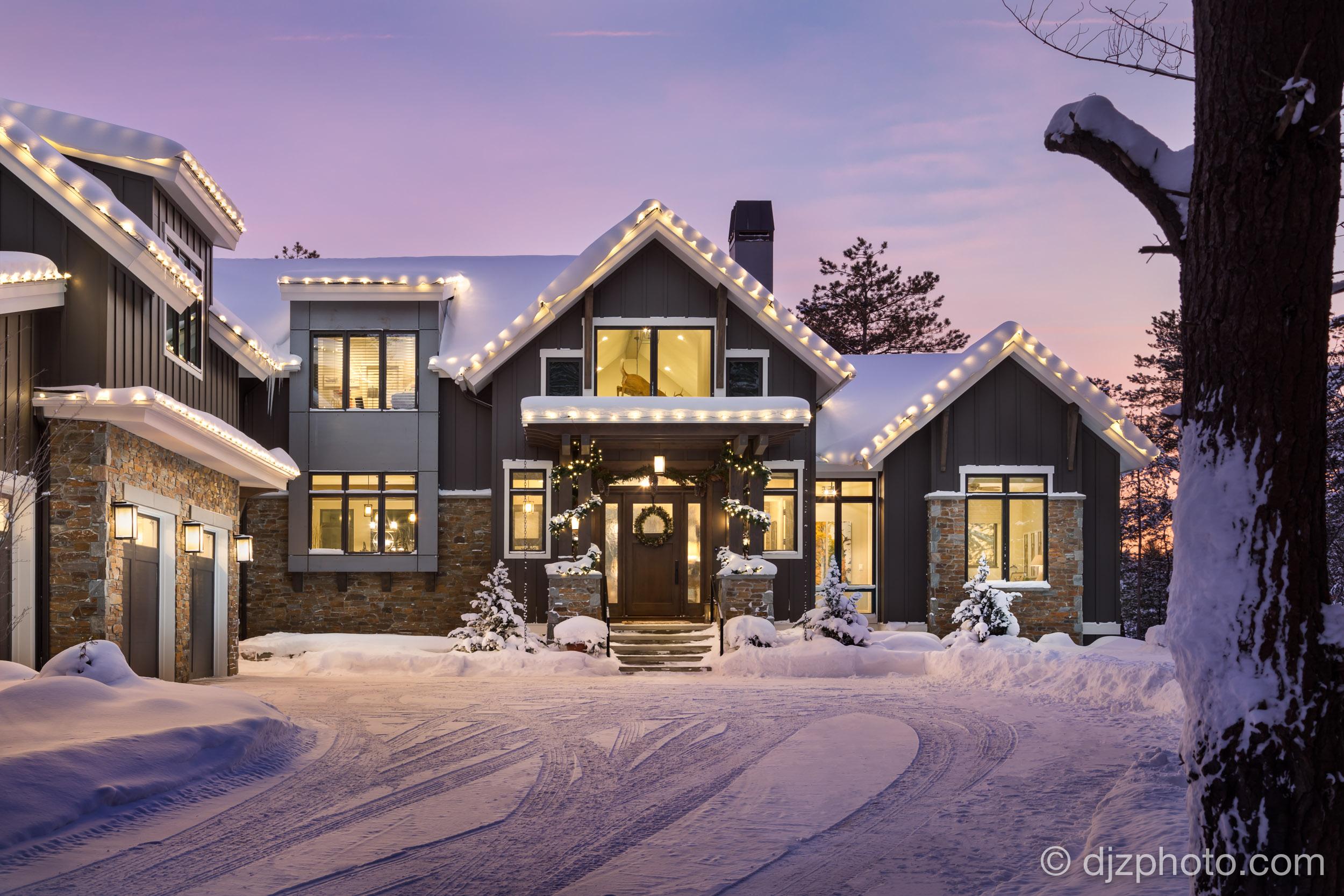 Christmas Lights Twilight Exterior