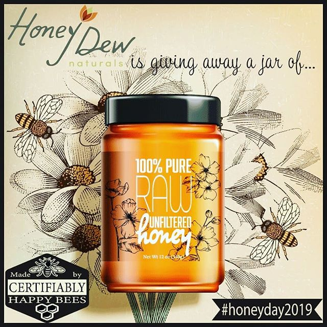 This Saturday (8/31) is Honey Day and we'd like you to join us! Register on our website. Share #honeyday2019 and you could win a jar of our raw, unfiltered honey!  #raw #unfiltered #pure #honey #savethebees #sustainableliving #sustainablyharvested #happybees #healthyfood