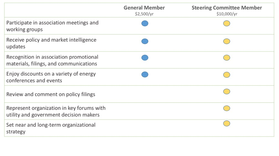 Member categories and corresponding dues