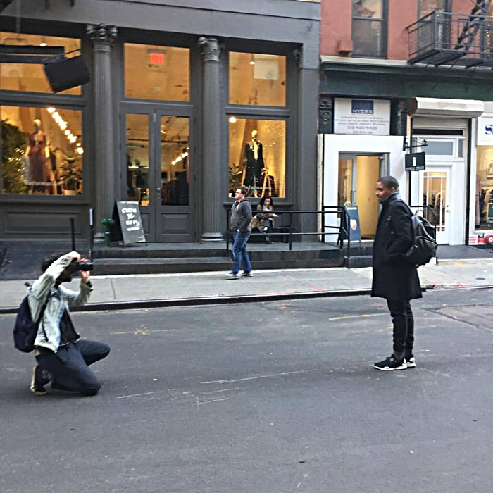Satchell being shot for the WGSN style blog on the streets of Manhattan.