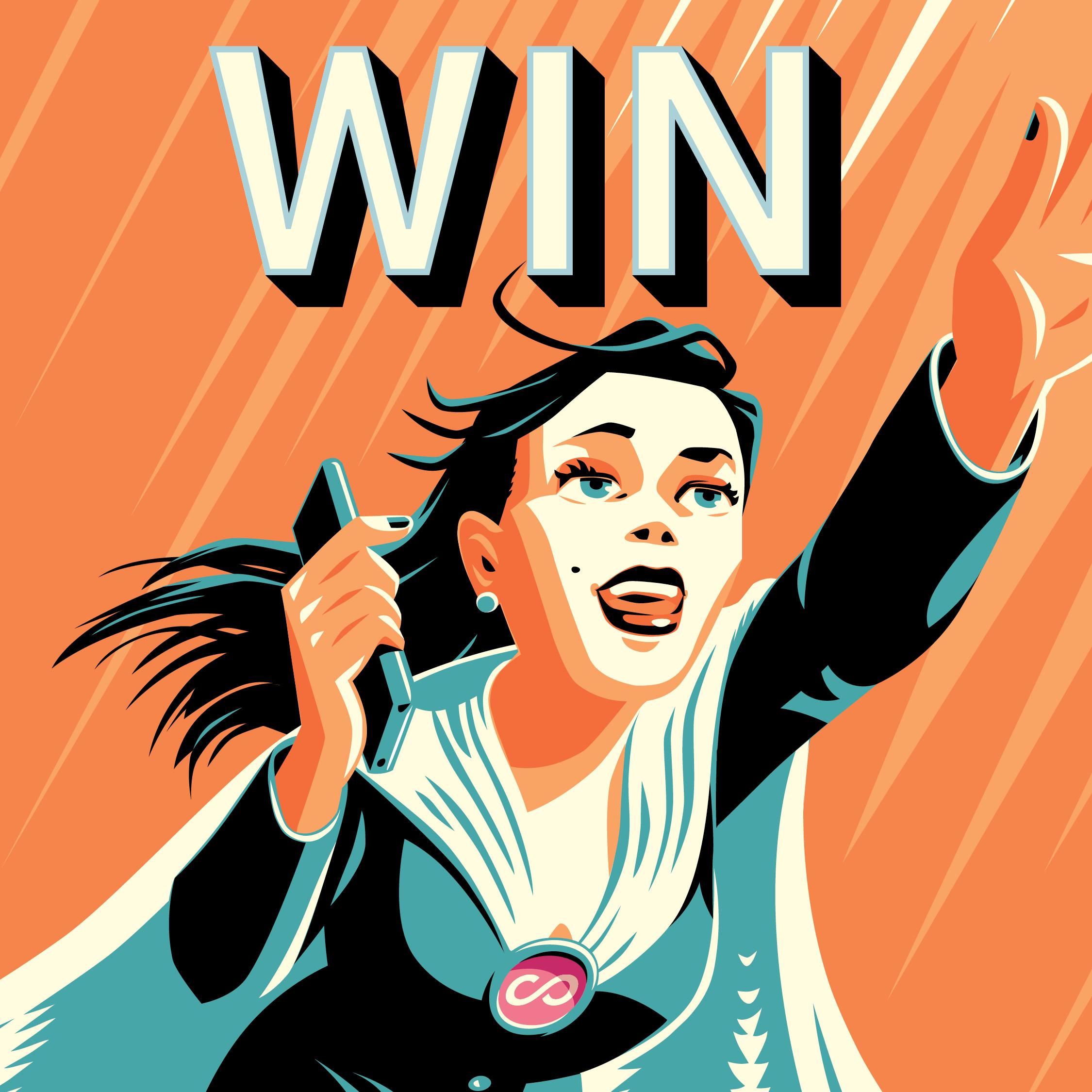 Web Tile - Hero girl 'Win' close up -