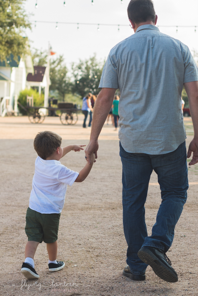 father walking with son