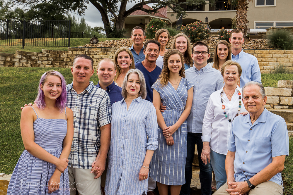 Extended family of 17 people formal portrait in kingsland, tx. Photo by Erin Reas of Flying Lantern Photography