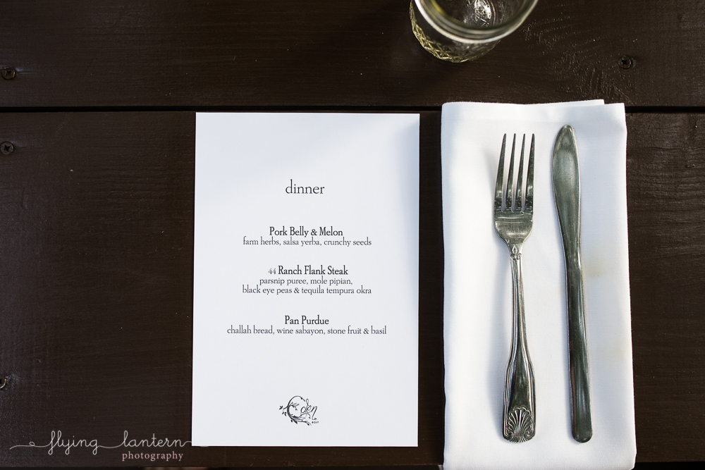 Wander/Gather event at Eden East in Austin, TX. Dinner Party flat lay of menu. Photo by Erin Reas of Flying Lantern Photography