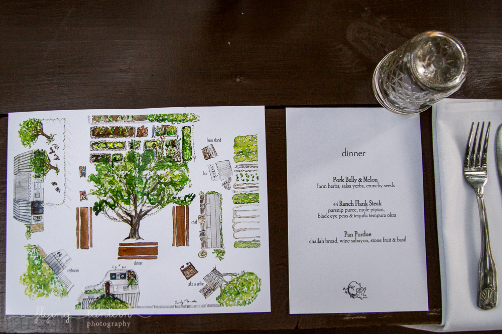 Detail flat lay of menu and program for Wander/Gather event at Eden East. Even Photography by Erin Reas of Flying Lantern Photography