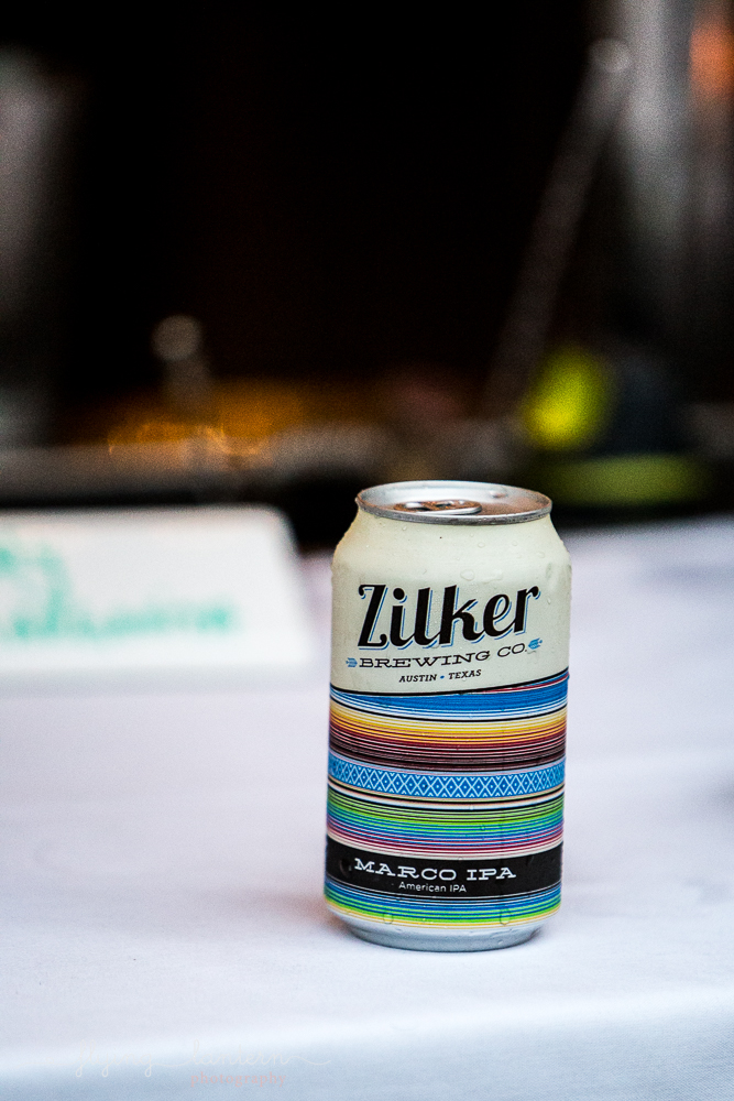 Zilker Brewing company beer can event details. Photo by Erin Reas of Flying Lantern Photography