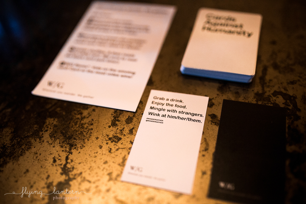 Custom Cards Against Humanity white card for Wander/Gather event at Native Hostel. Photo by Erin Reas of Flying Lantern Photography.