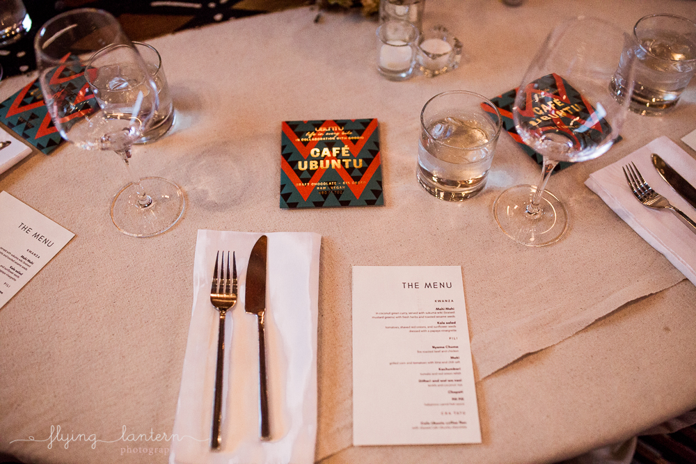 Ubuntu Life gala table setting at the Pershing. Event Photography by Erin Reas of Flying Lantern Photography