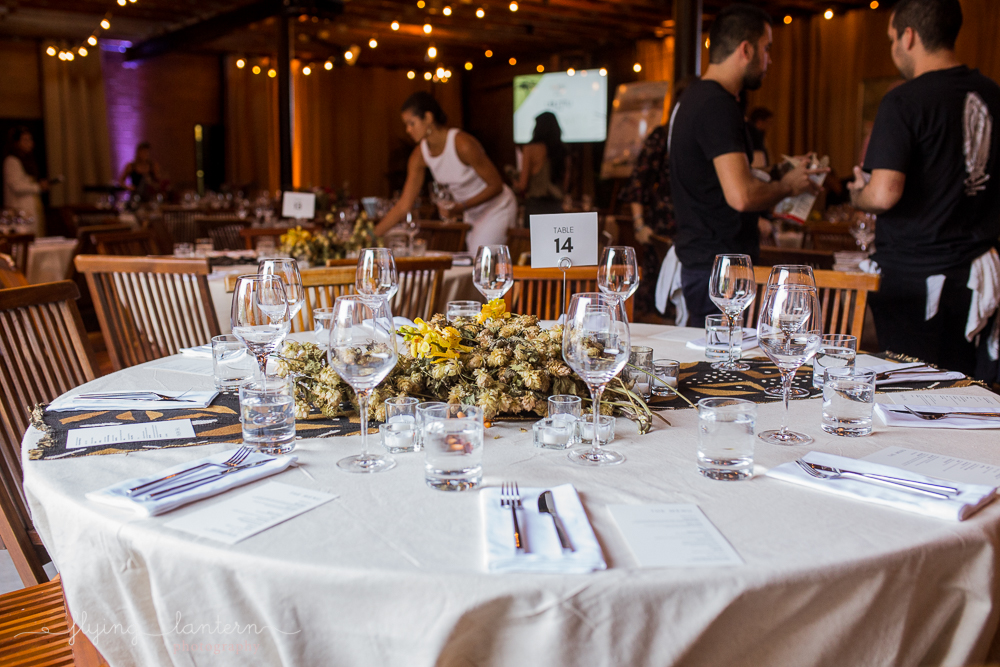 Table set up at Ubuntu Life gala at the Pershing. Event photography by Erin Reas of Flying Lantern Photography