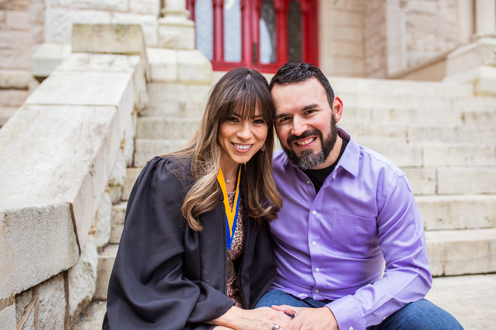 Couples portrait on St. Edward's University in Austin, Texas