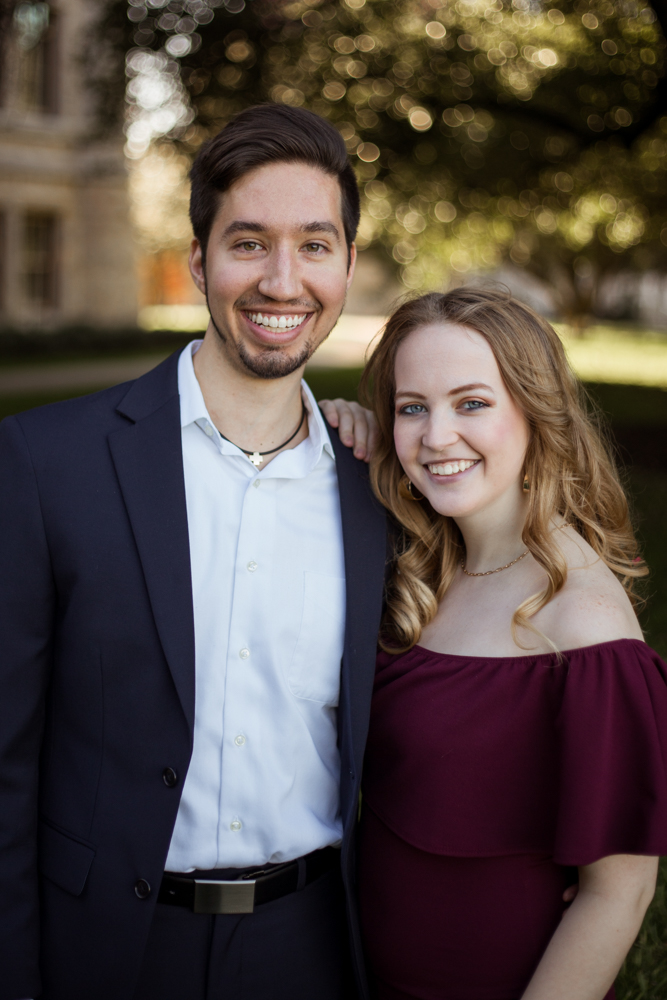 St. Edward's University couple on campus. Portrait by Erin Reas photographer in Austin, TX