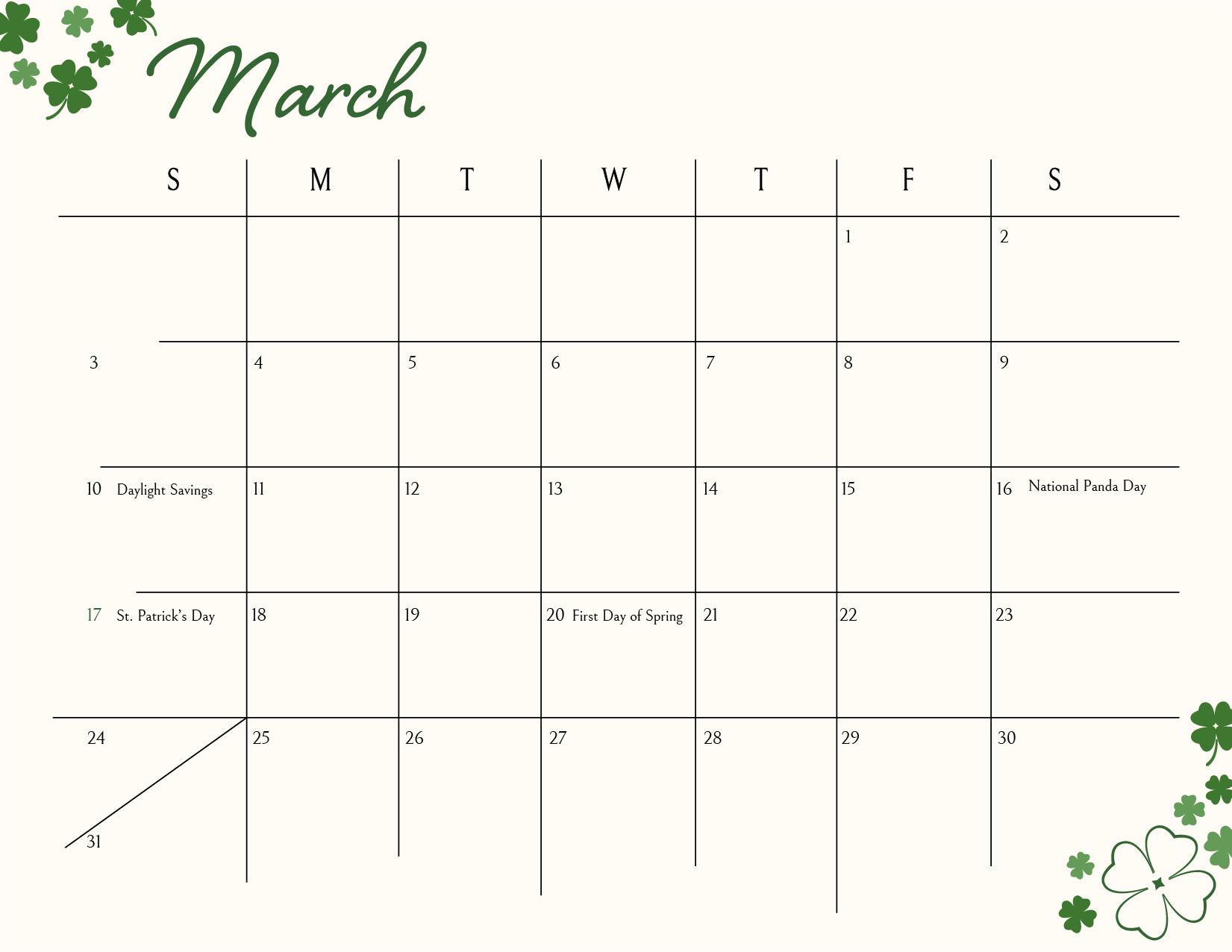 March download freebie calendar
