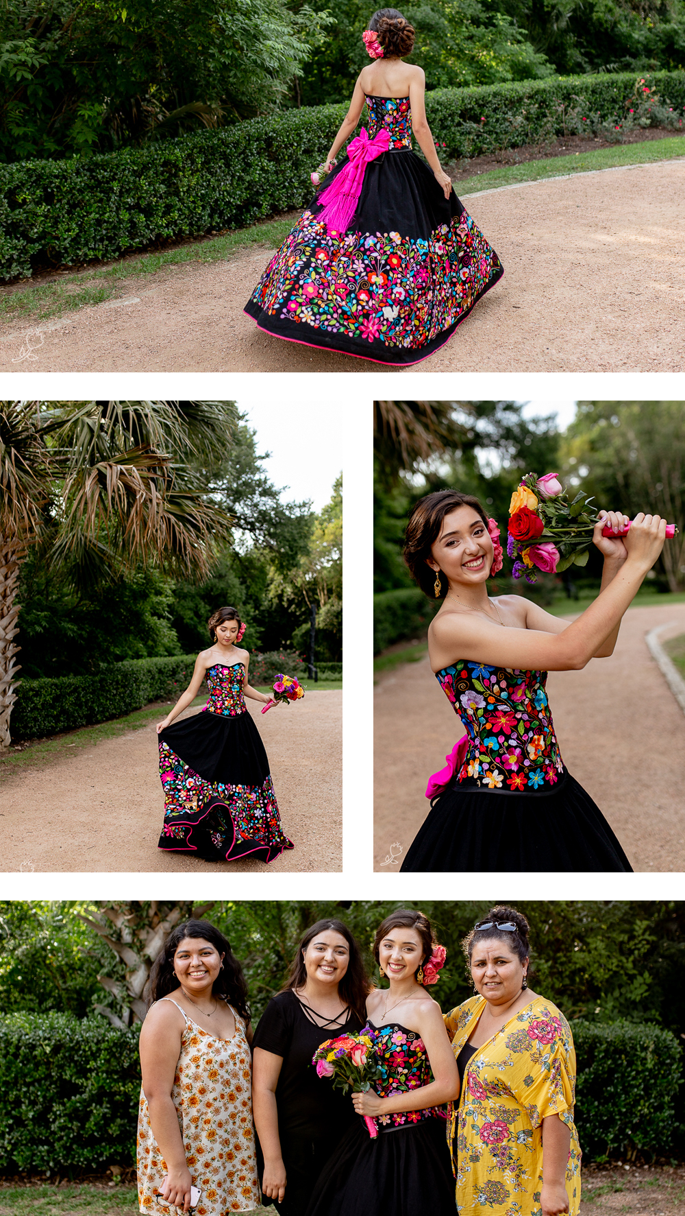 Quinceañera portraits wearing colorful traditional Mexican dress at Laguna Gloria in Austin, TX. Photos by Erin Reas portrait and lifestyle photographer in Austin, TX