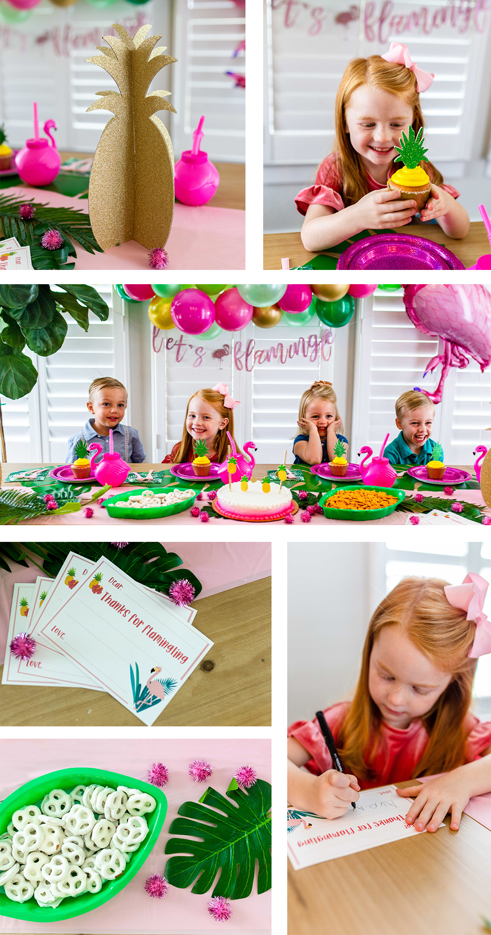 Children's tropical flamingo themed party lifestyle brand photography. Photo by Erin Reas based in Austin, TX
