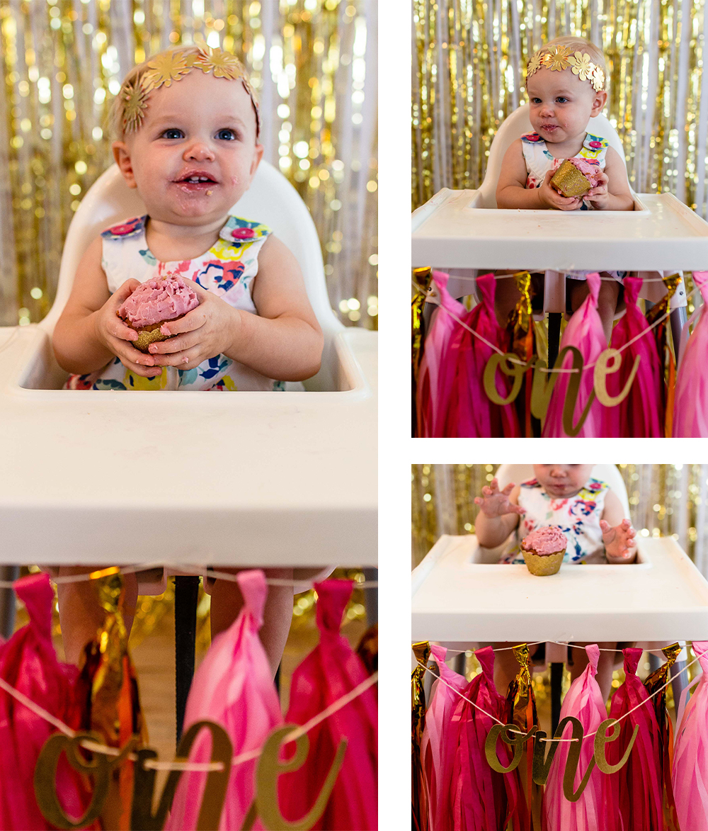 Smash cake for a baby's first birthday. Party theme wearing flower crown sitting in a high chair with banner and tassels. Lifestyle brand photography by Erin Reas photographer based in Austin, TX