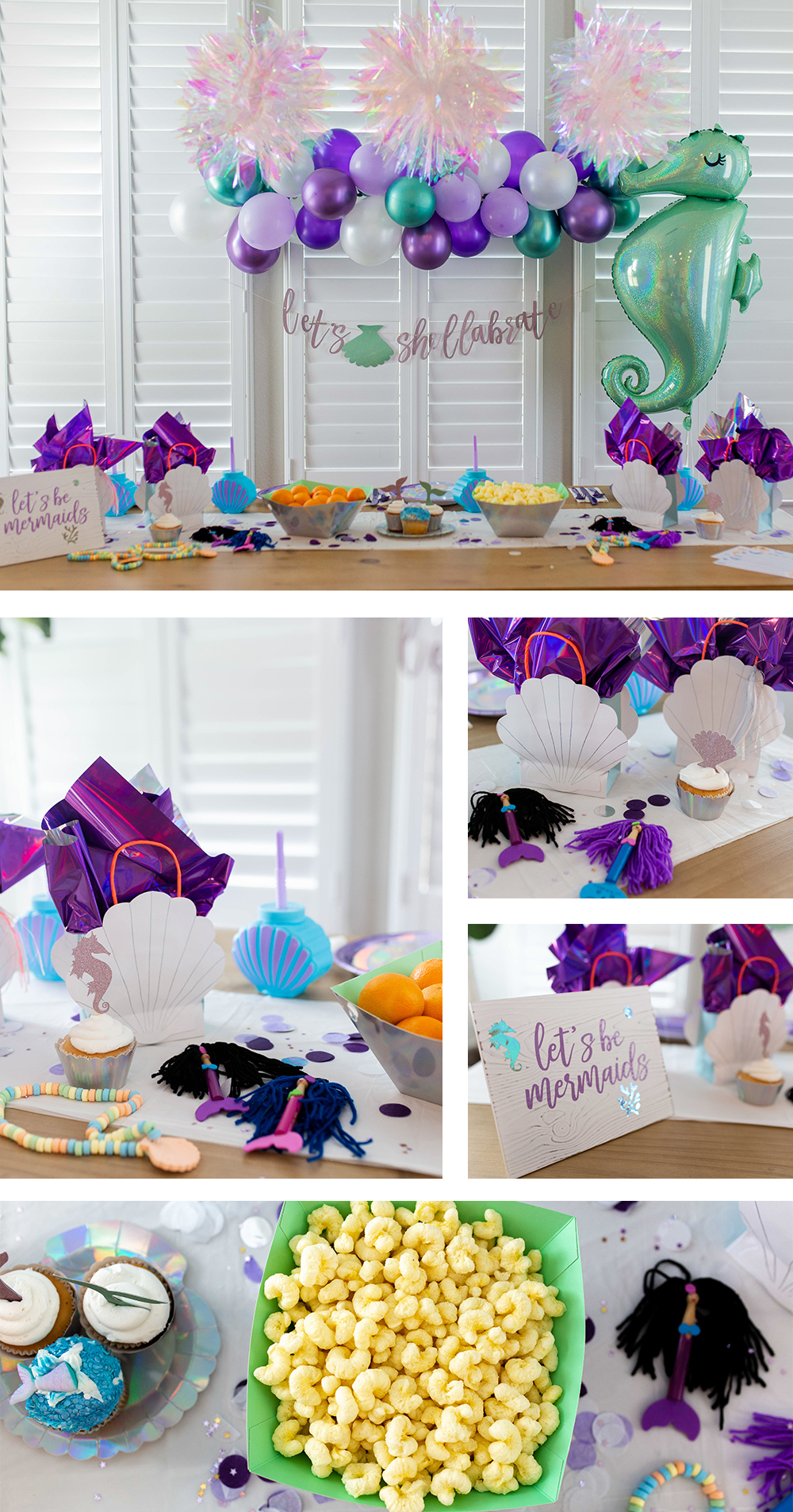 Children's mermaid themed party lifestyle brand photography. Photo by Erin Reas based in Austin, TX
