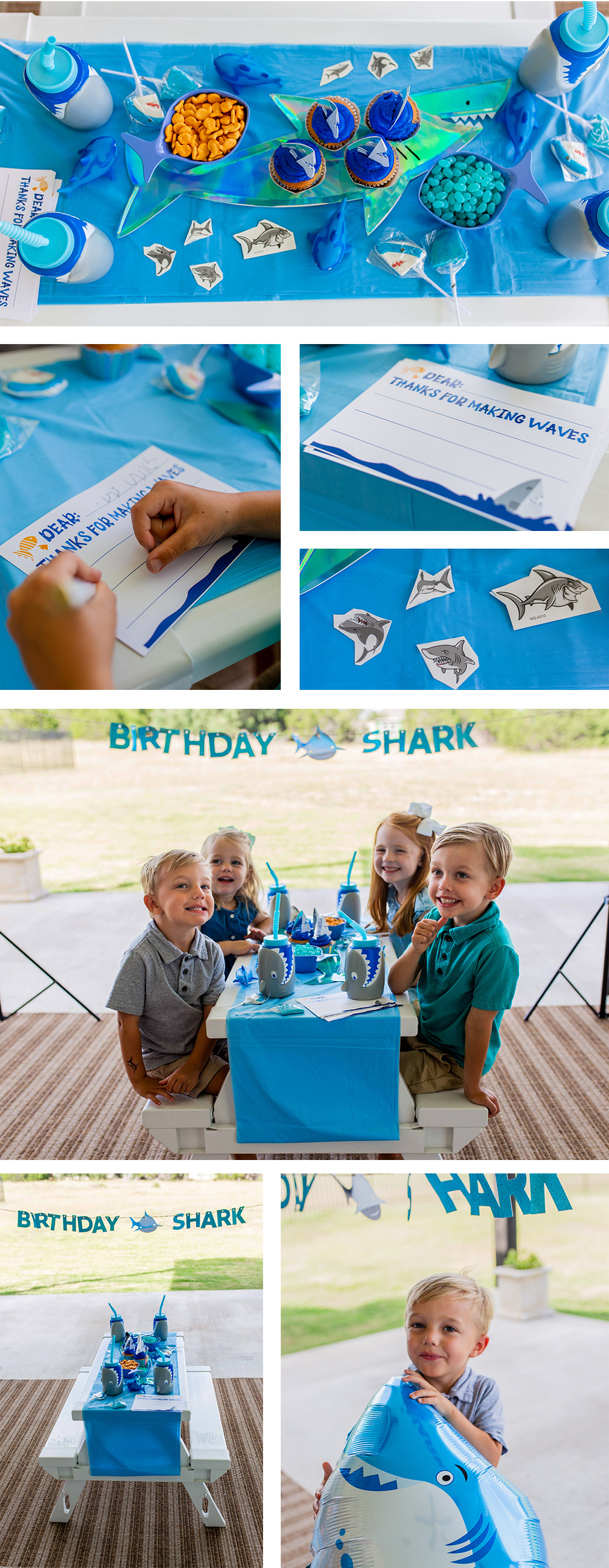Children's shark themed party lifestyle brand photography. Photo by Erin Reas based in Austin, TX