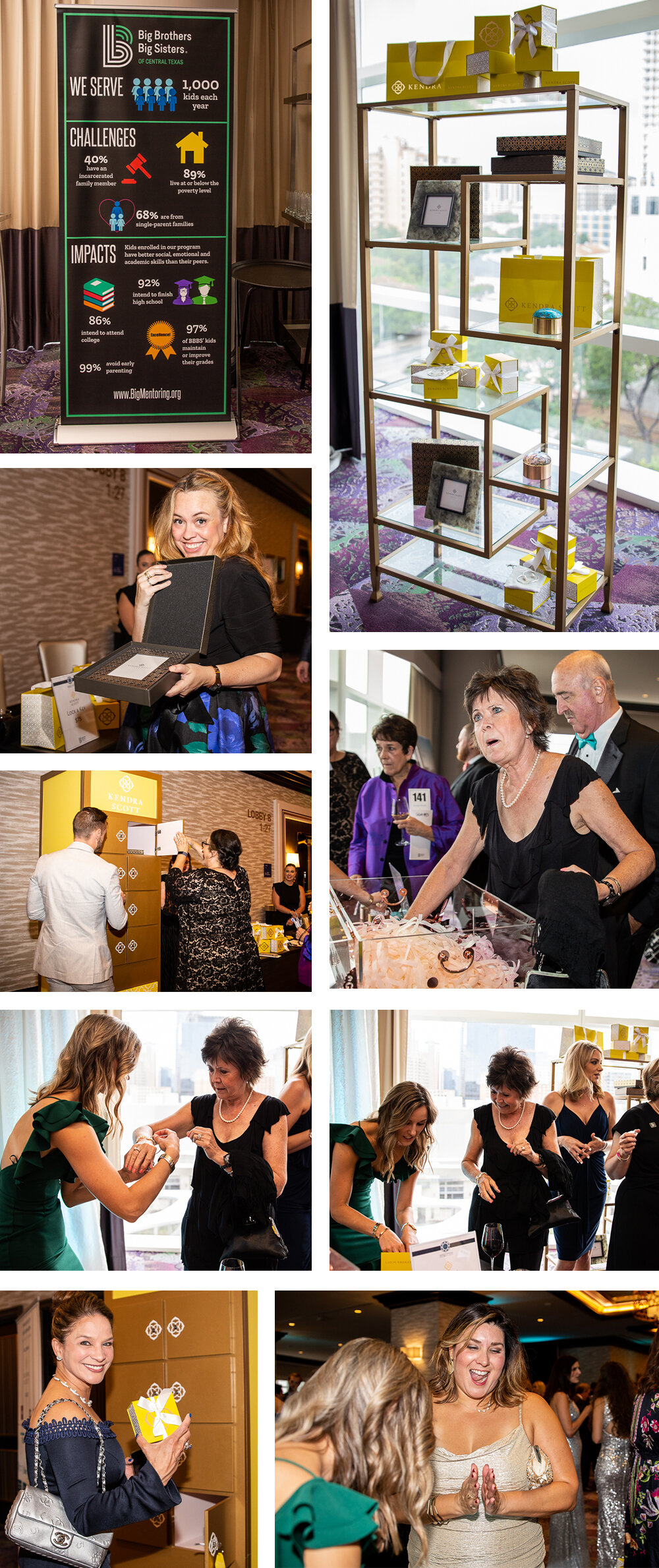 The Big Brothers Big Sister Ice Ball Gala had two Kendra Scott stations where guests paid to play two different games and win Kendra Scott pieces. One was a treasure chest where guests reached into a confetti filled box to find a colored gem that matched the different prizes available and the other was a locker that can only be opened by one key. Photos by Erin Reas event Photographer in Austin, TX