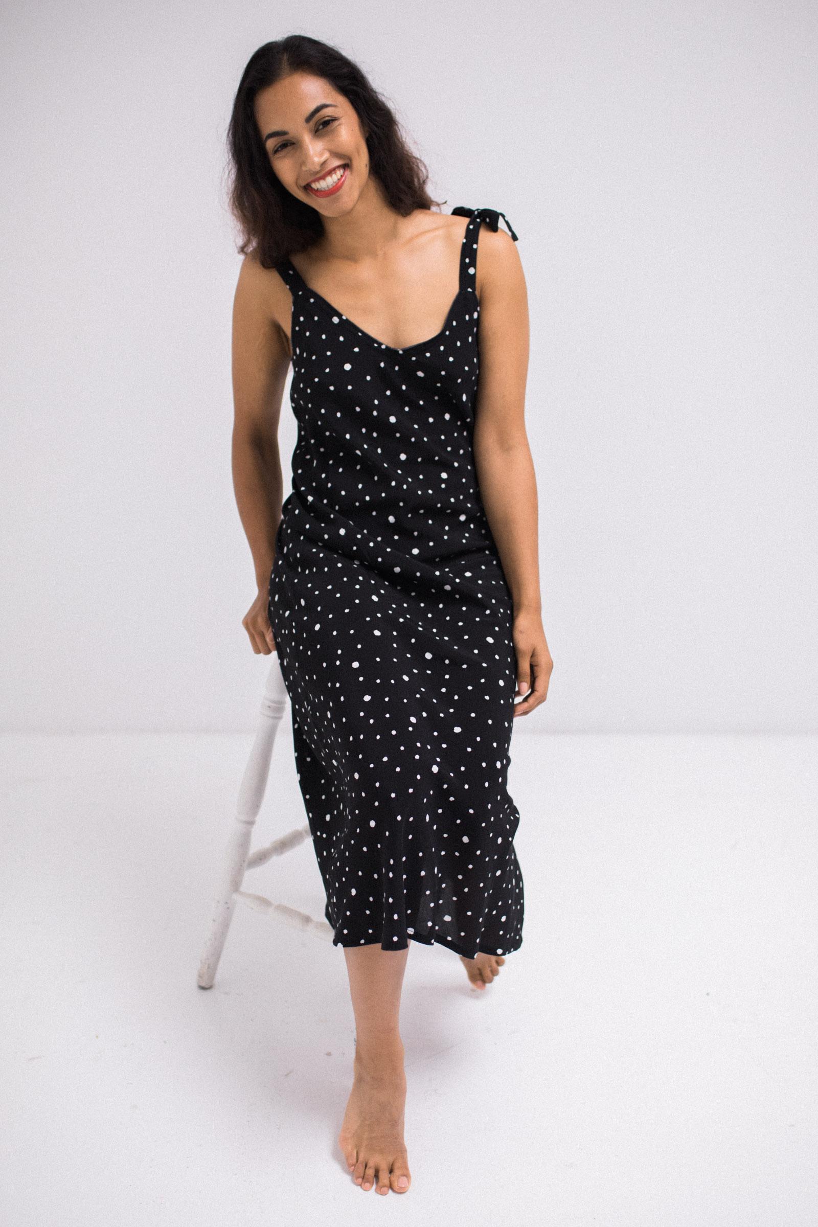 Bias Slip Dress (Black/White) - $315