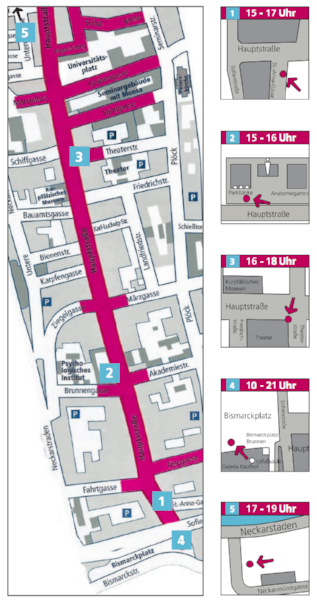 Full map of Heidelberg's Haupstraße where each busking point is located.