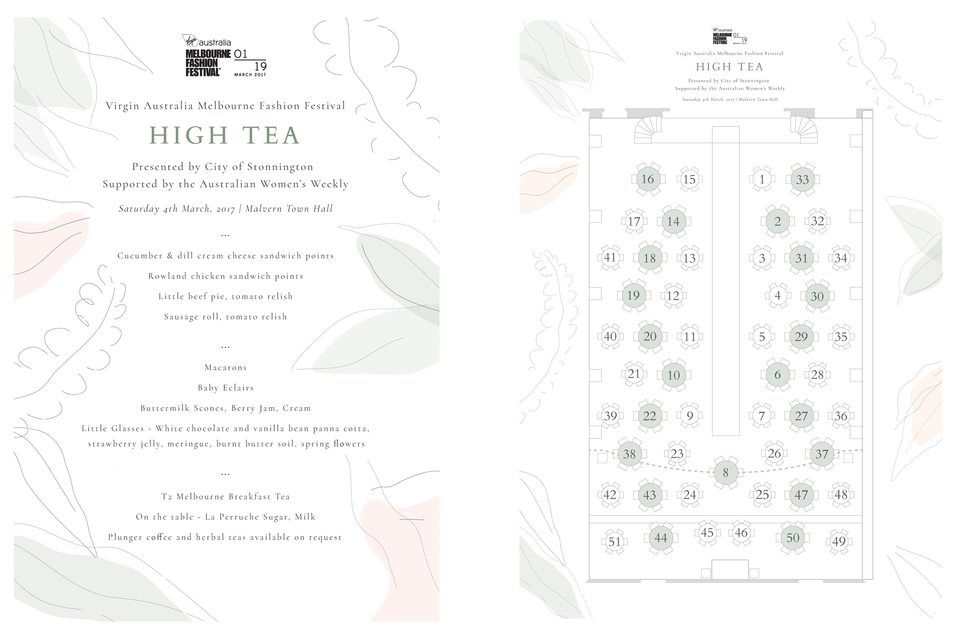 Graphic Design and Illustration of Menu and Seating Plan for  VAMMF High Tea