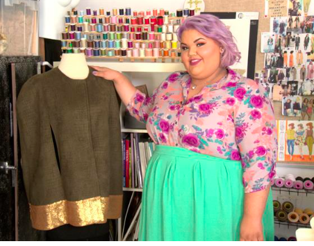 Ashley with one of her Project Runway creations.