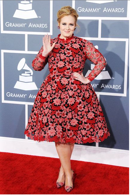 At the 55th Annual Grammy Awards, wearing Valentino.