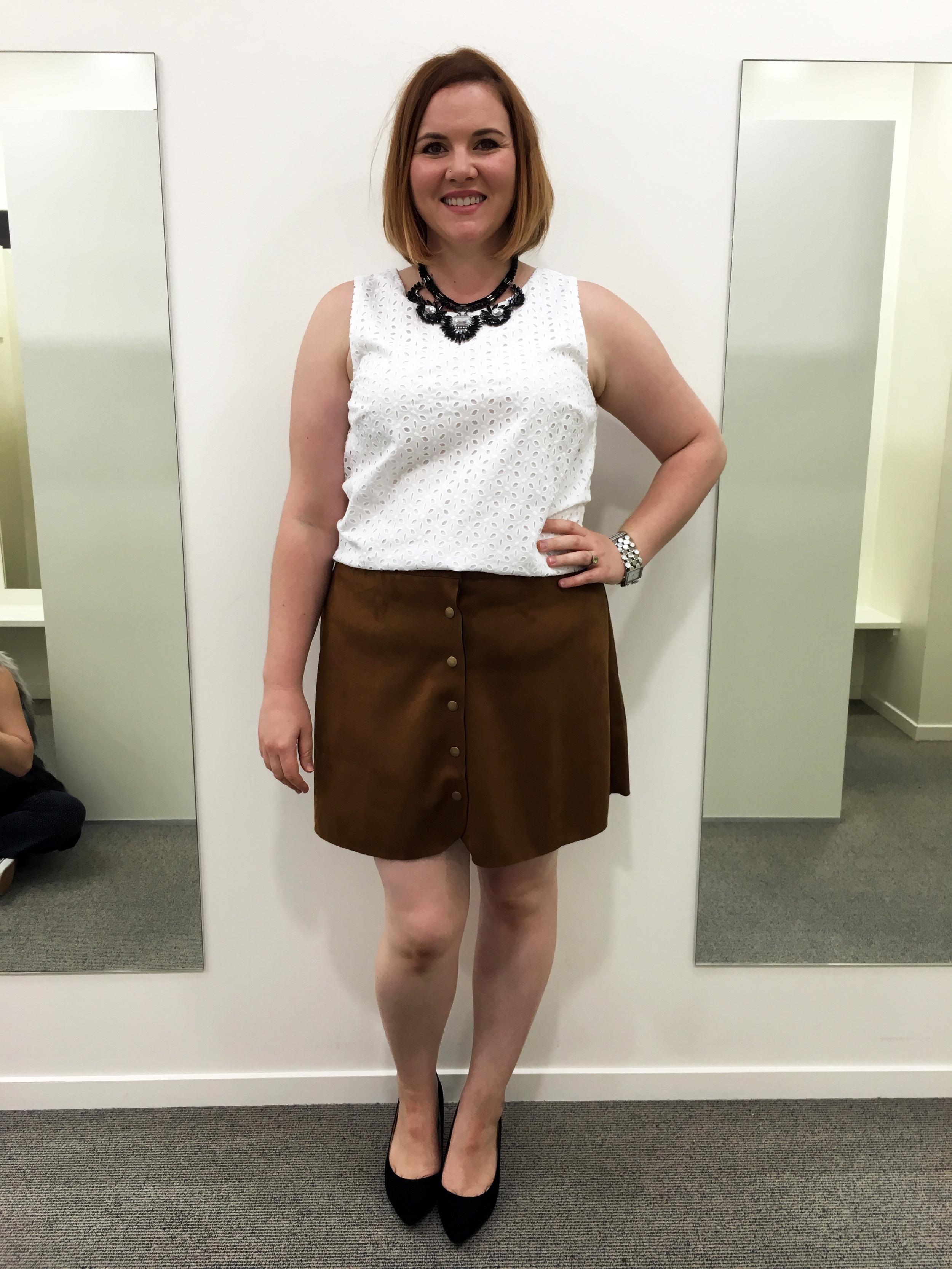 Crop top with suede skirt