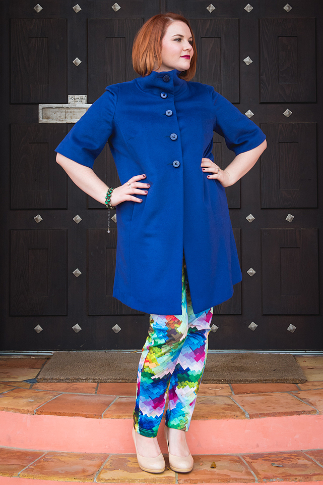 BLue Plus Size Chocolat Wool Coat and Stella Royal Print Pants