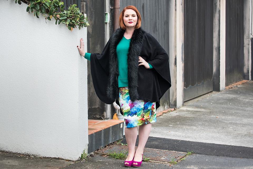 K&K Fur Wrap and Stella Royal Skirt
