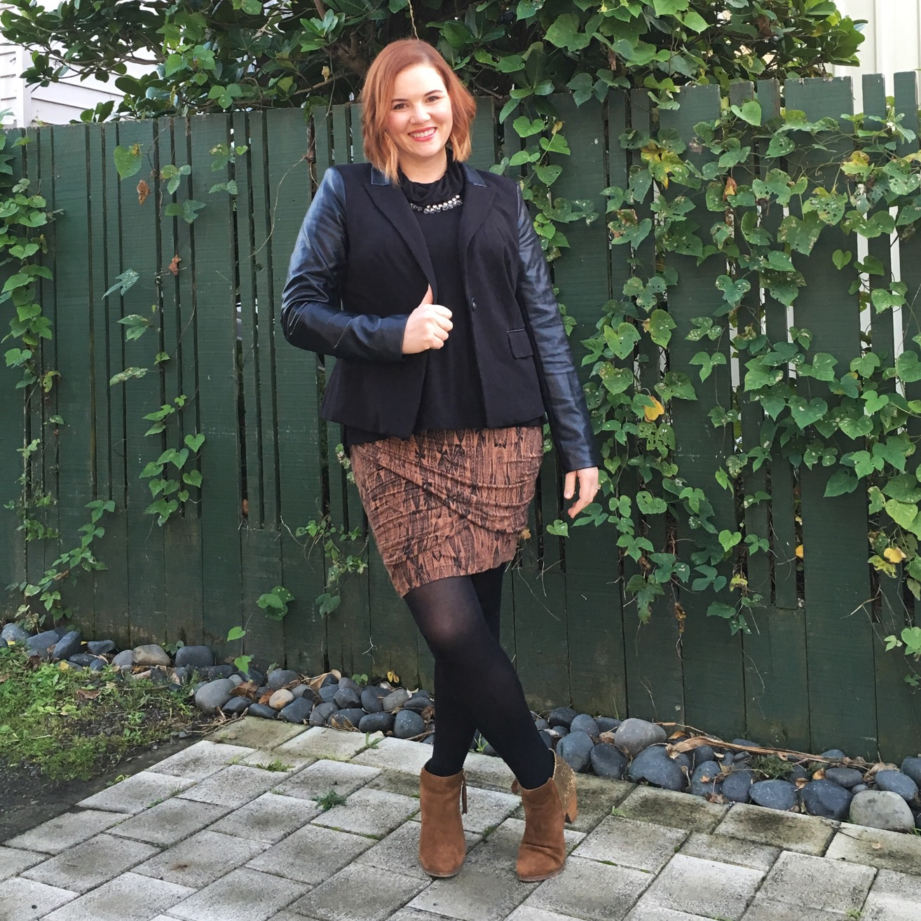 Leather feature blazer with bandage skirt