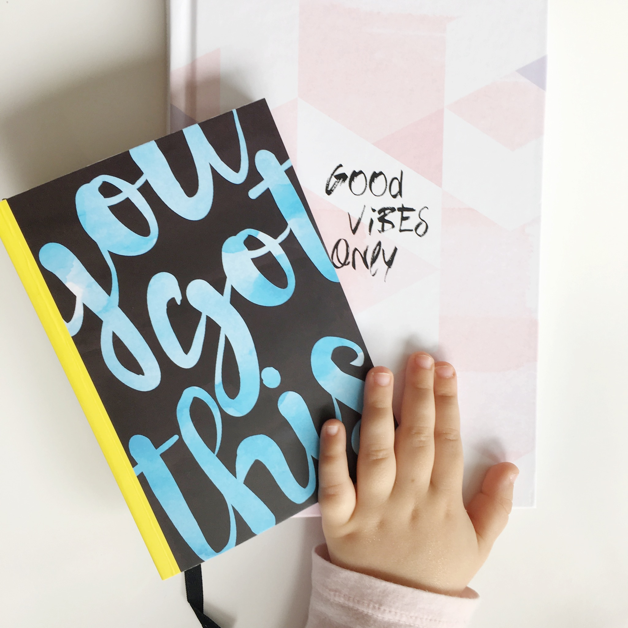 Childs hand with journal
