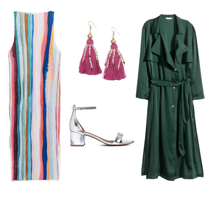Pleated dress $59.99, Sizes 4-16  -  Satin Trenchcoat $99, sizes 4-18  -  Earrings with Tassels $14.99  - Silver Shoes - Sold Out