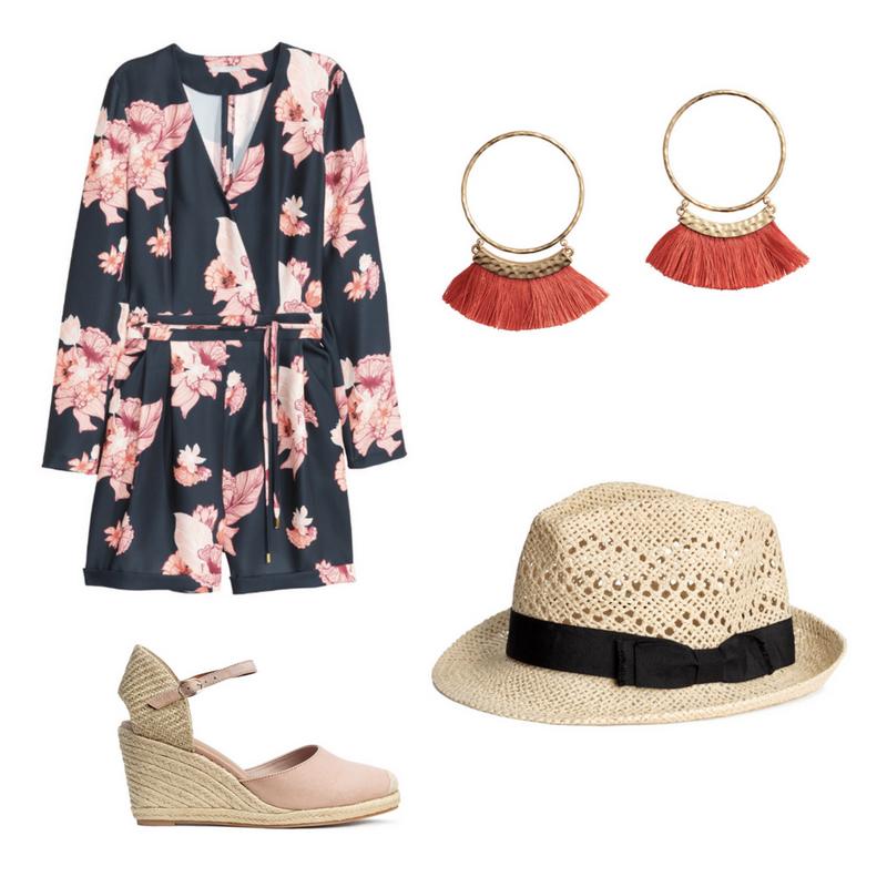 Satin Playsuit $69.99, Sizes 6-18  -  Wedge Heel Espadrilles $49.99  -  Straw Hat $14.99  - Tassel Earrings - Sold Out