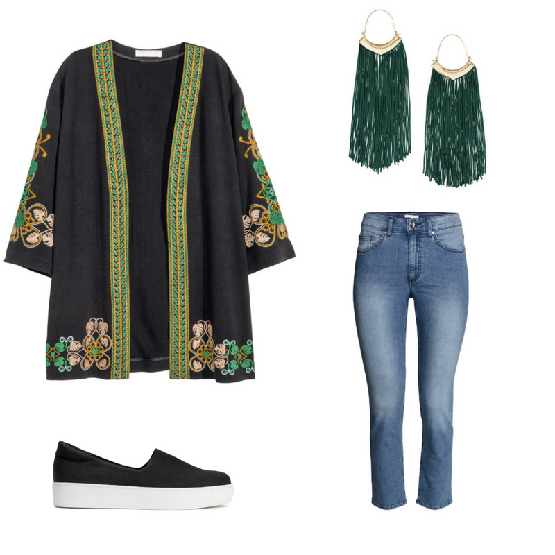 Embroidered Jacket $89.99, Sizes 4-18 - Jeans $29.99 Sizes 4-18 - Slip-on Platform Trainers $39.99 - Fringed Earrings $14.99
