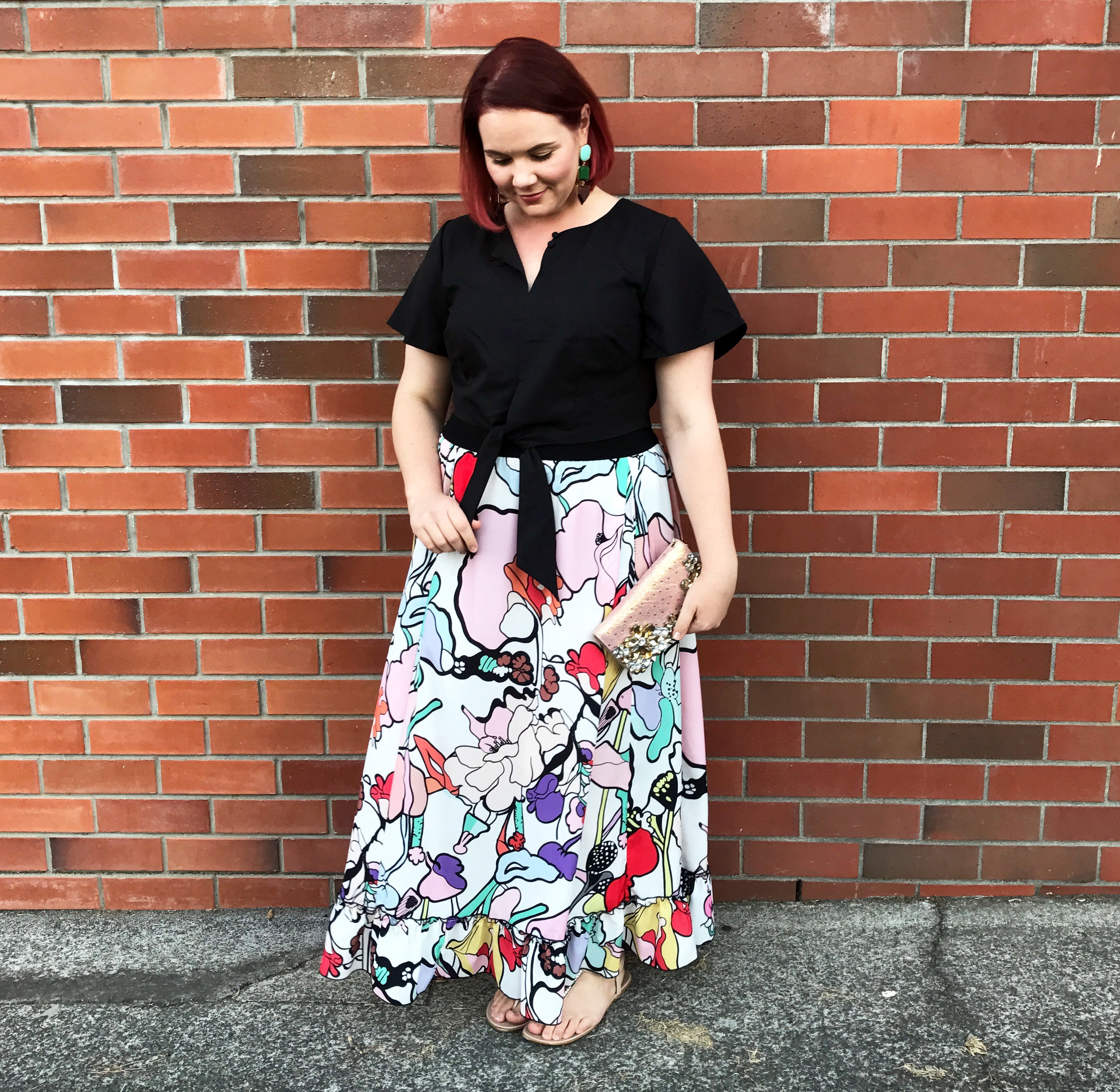 S  kirt by COOP (only size small left - I am wearing a Large), sandals by Novo Shoes, Earrings from H&M, clutch was a Trademe purchase.