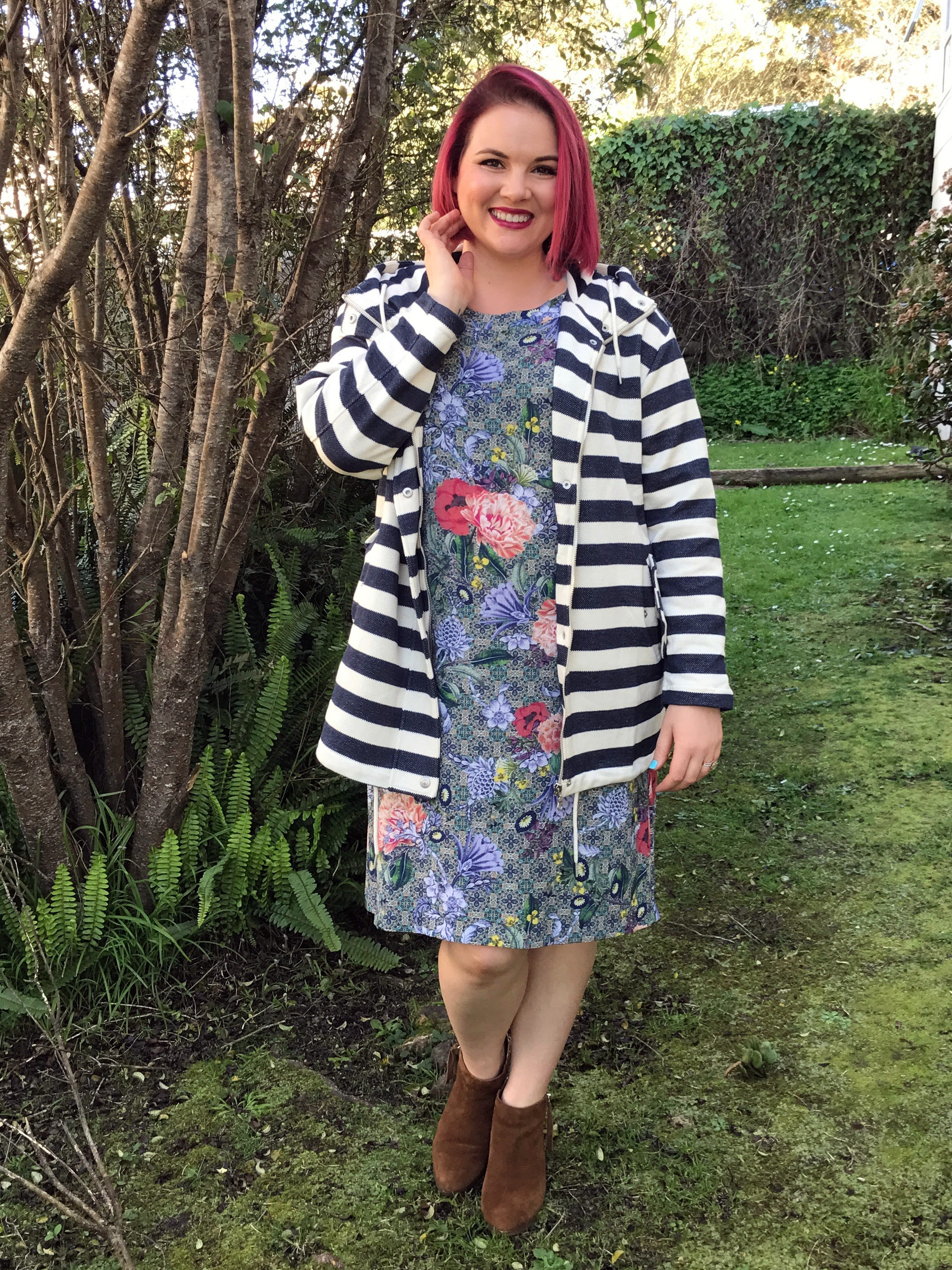 The Garden Mania dress $219 and Striped Jacket (also available in grey) $279 in sizes 8-16.