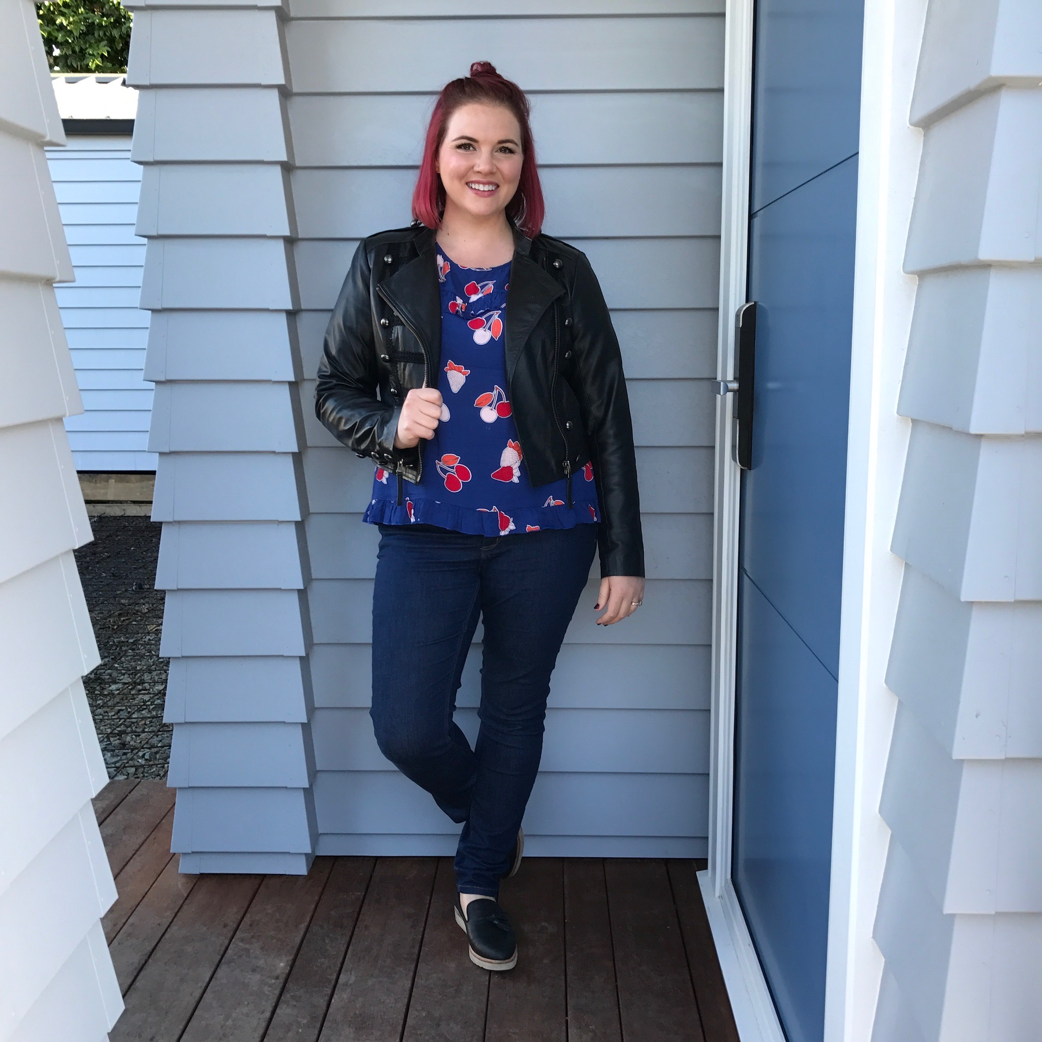 Trelise Cooper Jacket, Andrea Moore top, Trenery jeans, Rollie shoes.