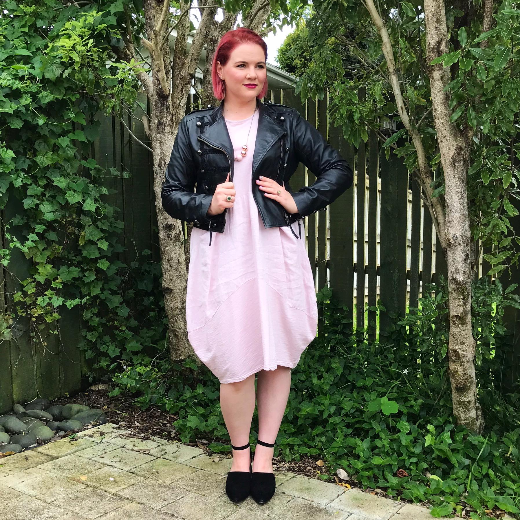 Trelise Cooper jacket, designer recycle dress (no label), Mi Piaci shoes.