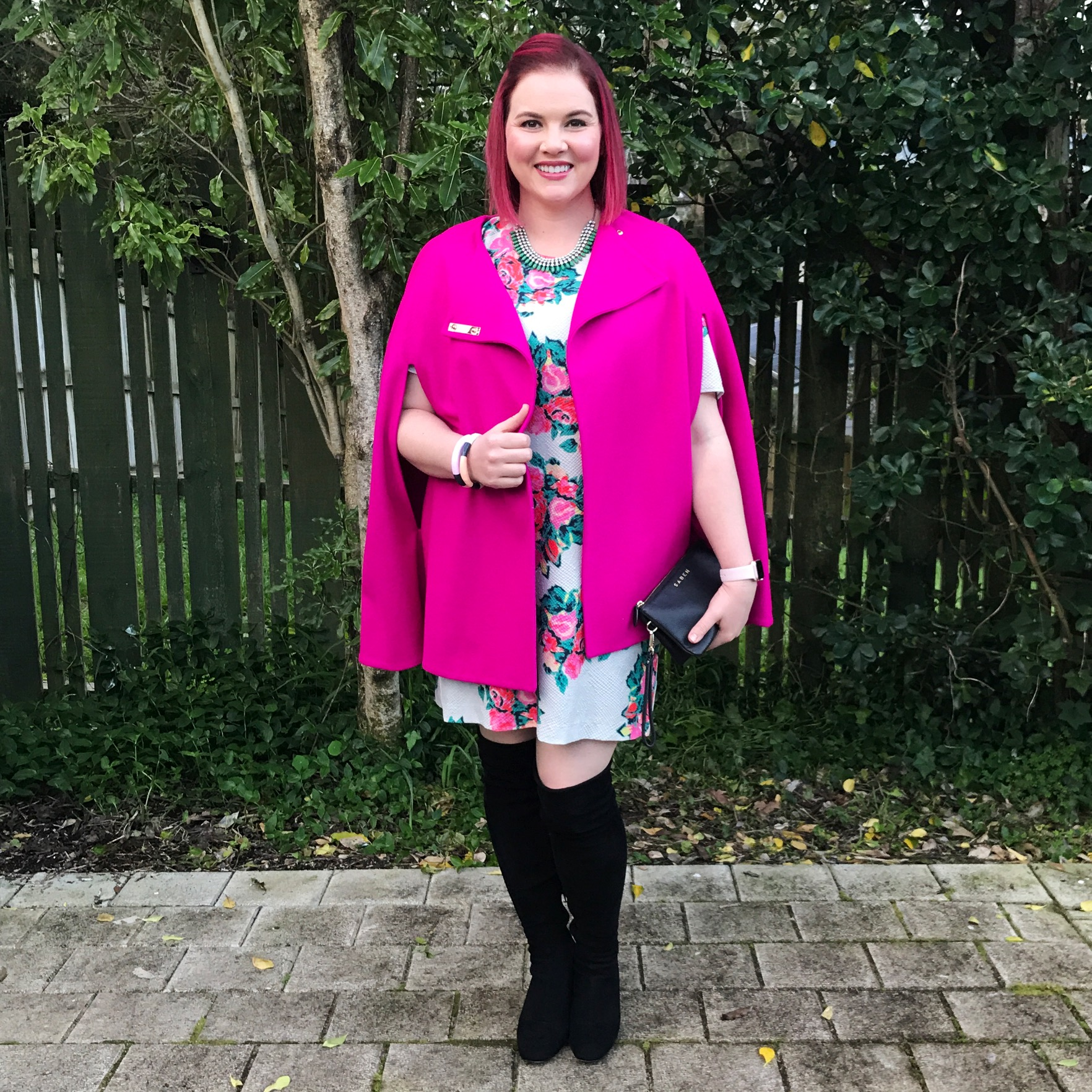 Curate by Trelise Cooper Dress, Ted Baker cape, Veronika Maine necklace, Merchant 1948 boots.