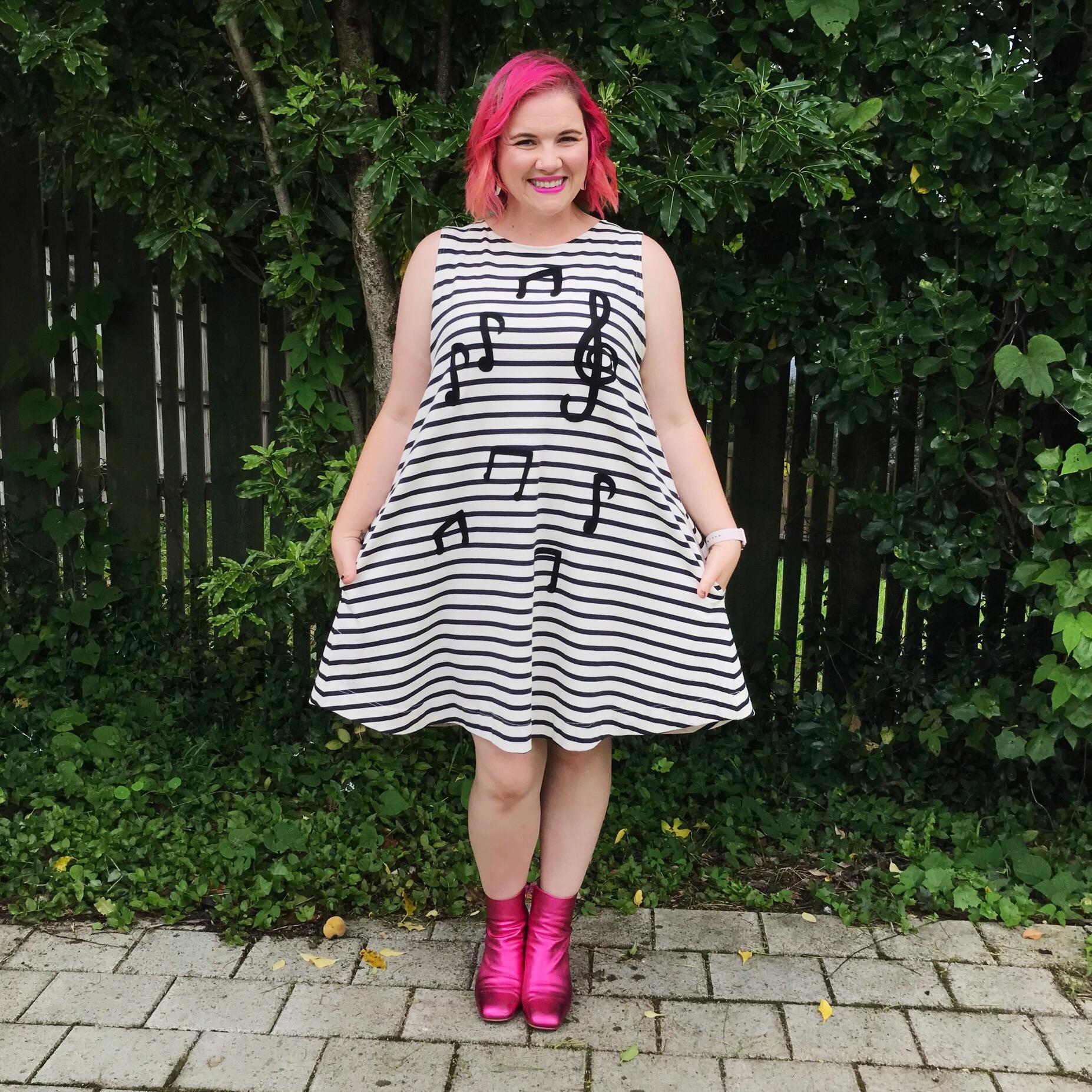 Dress by Gorman, boots by Mi Piaci.