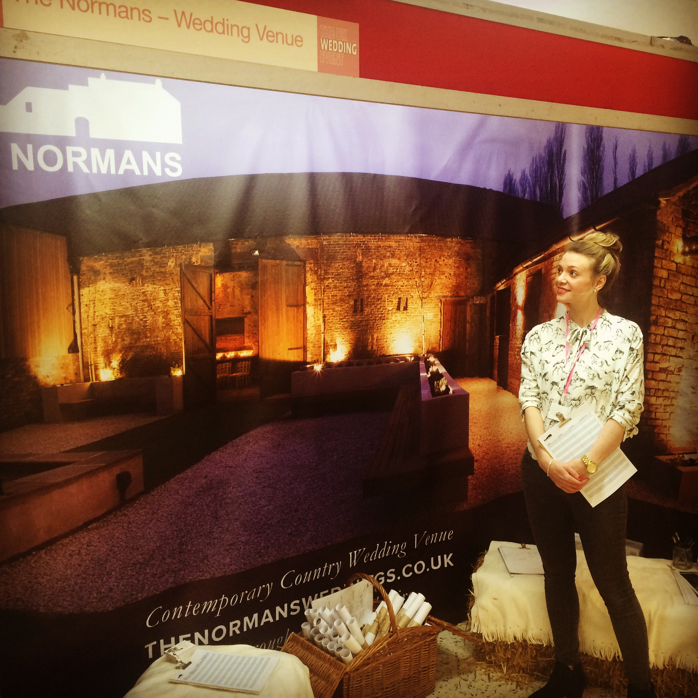 Laura loitering at The Normans wedding venue stall at the UK Wedding Event, York Racecourse