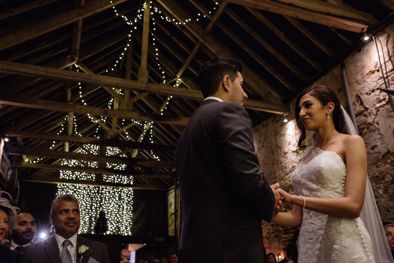 """""""I do!"""" Shaza and Kareem were the first-ever couple to be married in The Normans Ceremony Barn. Photo by toastofleeds.com"""