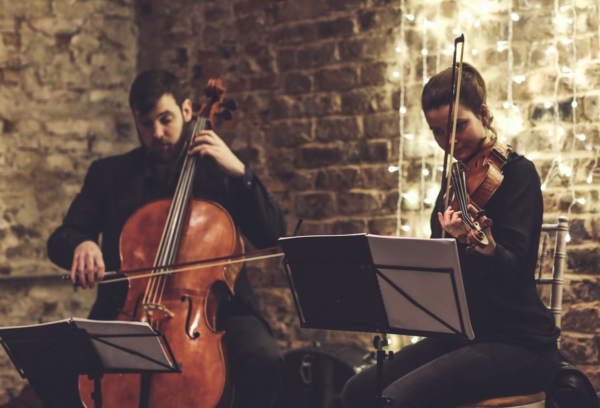 String quartet at The Normans wedding venue. Image by www.lumiere-photographic.com